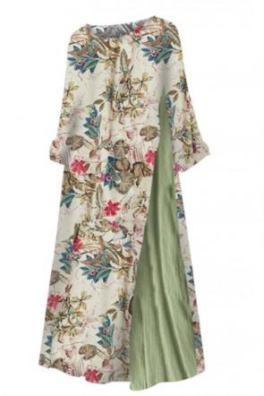 Robe longue imprimée vintage avec manches