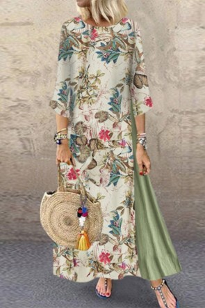 Vintage Printed Maxi Dress With Sleeves
