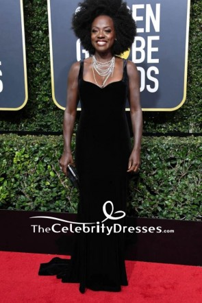 Viola Davis Black Sleek Velvet Evening Dress  2018 Golden Globes Red Carpet