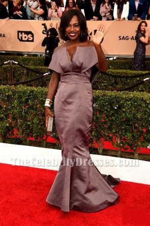 Viola Davis robe de soirée sirène sans bretelles robe de bal SAG 2016