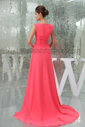Watermelon Long Chiffon Cut Out Prom Gown Evening Formal Dress