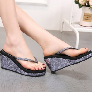 Wedge Flip Flops Decor With Sequins