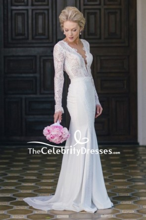 White Deep V-neck Lace Prom Dress With Long Sleeves