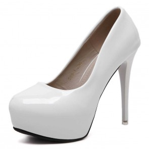 White Round Toe Women's Prom Shoes Stiletto Heels For Wedding