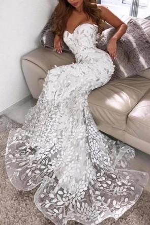 White Strapless Mermaid Applique Prom Dress
