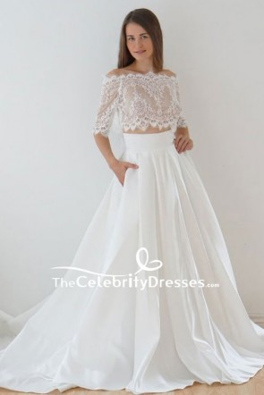White Two Pieces Lace Ball Gown With Sleeves