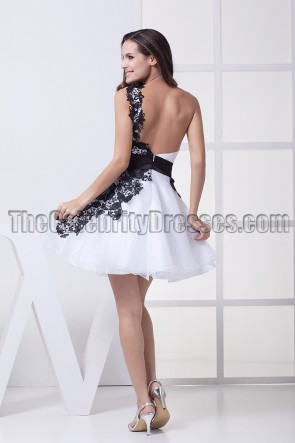 White And Black Backless One Shoulder Party Graduation Dresses