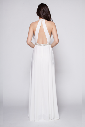 White Floor Length Beaded Backless Evening Dress Prom Gown