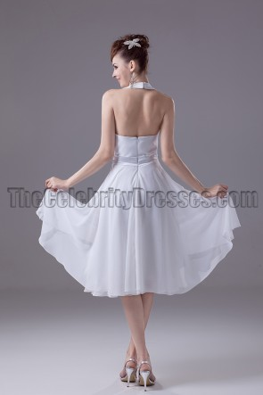 White Halter Chiffon Cocktail Party Graduation Dresses