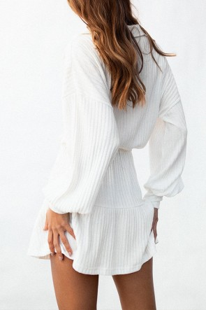 White Lace-up Pocket Ribbed Dress