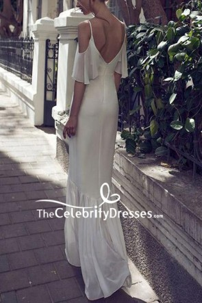 White Elegant Spaghetti Straps V-neck Prom Dress