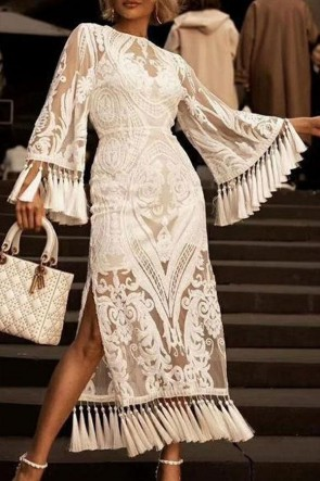 White Tassel Lace Long Sleeves Fashion Dress