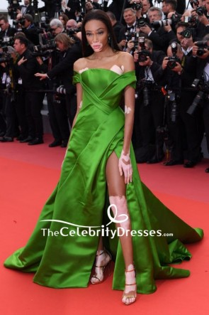 Winnie Harlow Green Off-the-shoulder Evening Formal Dress With Thigh-high Slit 2018 Cannes Film Festival Red Carpet