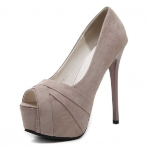 Women's Black Suede Platform Stiletto Heels Pumps Shoes For Wedding