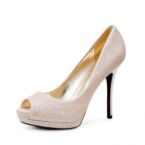 Women's Gold Wedding Stiletto Heels Cheap Prom Shoes