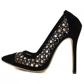 Women's Hollow Pointed Toe Wedding Shoes Drill Stiletto Heels For Prom