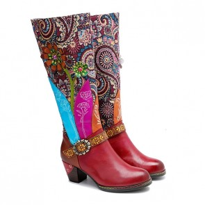 Women's Plus Size Casual Retro Shoes Handmade High Heels Boots