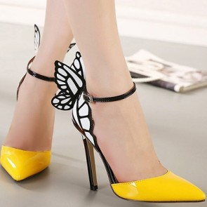 Women's Ankle Straps Stiletto Heels Pumps Slingback With Butterfly Wings