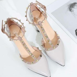 Women's Chunky Heel Pumps T-Strap Closed Toe With Rivet