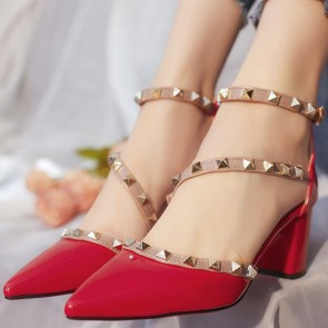Women's Chunky Heel Sandals Shoes Closed Toe With Rivet