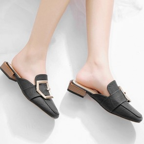 Women's Decor Metal Closed-toe Flat Sandals Pumps Shoes