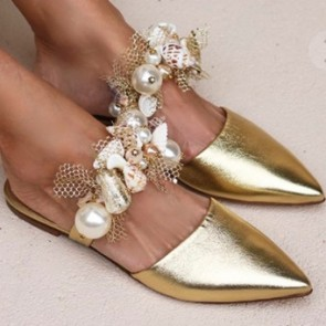 Women's Faux Leather Closed-toe Low Heel Slide With Imitation Pearl