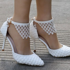 Women's Lace Stiletto Heels Wedding Shoes