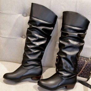 Women's Leatherette Low Heel Calf Boots
