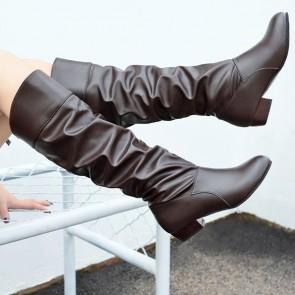 Women's Leatherette Low Heel Calf Boots