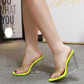 Women's Nude Transparent Wedge Heel Open-toe Shoes