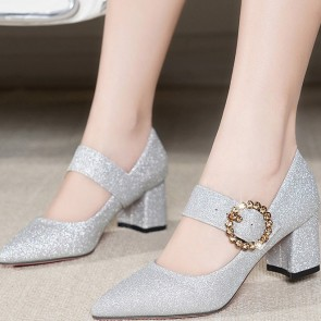 Women's Chunky Heel Pumps Closed Toe Shoes With Metal Buckle