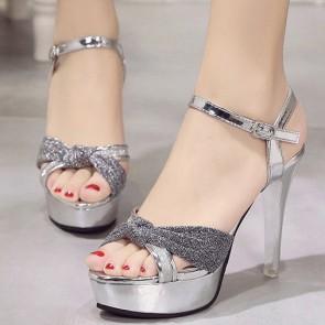 Women's Sparkling Glitter Platform Stiletto Heels Open-toe Sandals