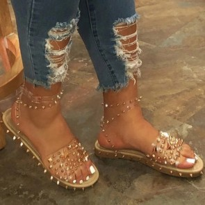 Women's Rivets Wide Fit Open-toe Flat Sandals