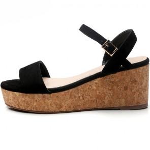 Women's Suede Open-toe Wedge Heel Sandals With Buckle