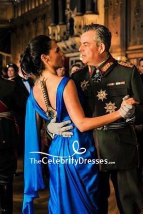 Wonder Woman Royal Blue V-neck Ruffled Dress TCD8868