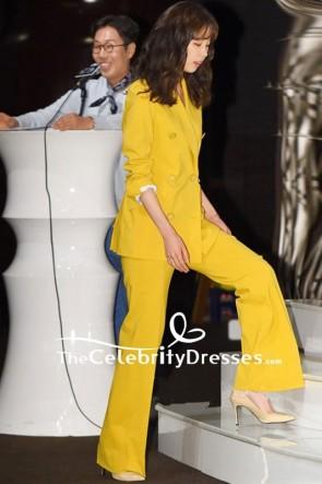 Pantalon long de costume de célébrité jaune de jambe large à vendre