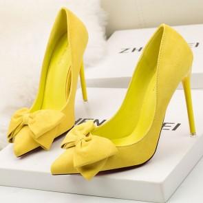 Yellow Fashion Women's Suede Stiletto Heels