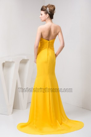 Yellow Strapless Formal Dress Prom Evening Gown