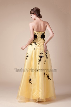Yellow Strapless Embroidery Prom Dress Evening Formal Gown