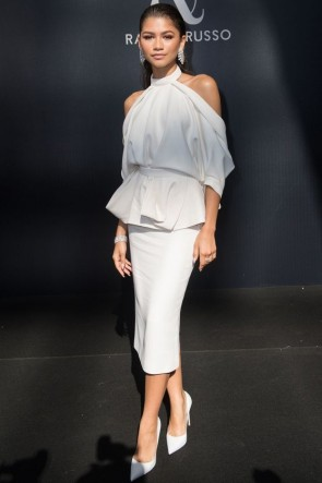 Zendaya White Halter Shoulderless Cocktail Dress