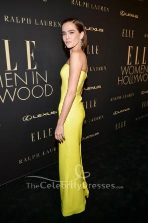 Zoey Deutch Yellow Strapless Prom Dress 2019 Elle Women in Hollywood celebration TCD8790