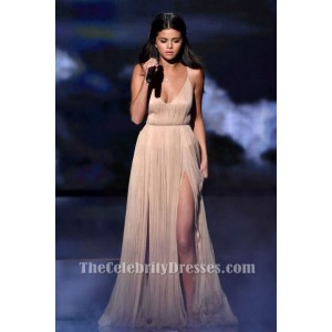 Selena Gomez Champagne Evening Prom Dress 2014 American Music Awards