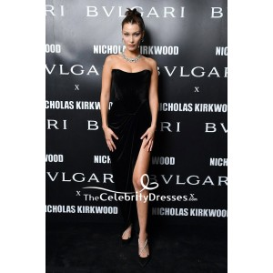 Bella Hadid Black Velvet Strapless Thigh-high Slit Evening Dress Milan Fashion Week