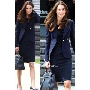 Kate Middleton Dark Navy Blazer With Short Dress
