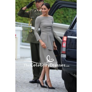 Meghan Markle Gray Cocktail Dress With Long Sleeves