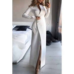 Sexy High Slit Long Dress With Sleeves