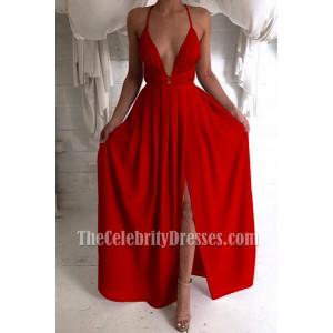 Red Plunging Backless Halter Prom Gown High Slit Sexy V-neck Evening Dress