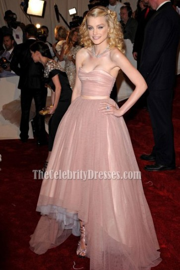Jessica Stam Formal Evening Dress Strapless Prom Gown At MET Gala 2011 1