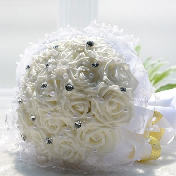 White Round-Form Artificial Flower Bridesmaid Bouquets