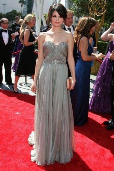 Selena Gomez Silver Strapless Prom Dress Creative Arts Emmy's